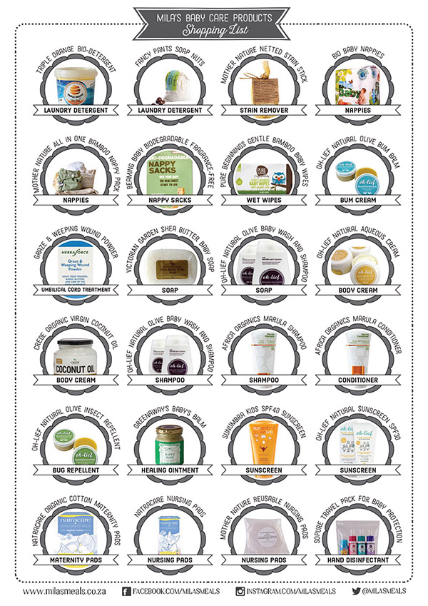 Organic Baby-Care Producst Shopping List